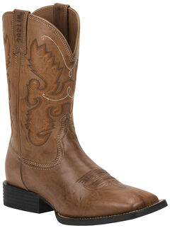Justin Burnished Brown Farm & Ranch Cowboy Boots - Square Toe , , hi-res