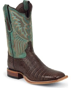 Tony Lama Vintage Caiman Belly Cowboy Boots - Square Toe, Chocolate, hi-res