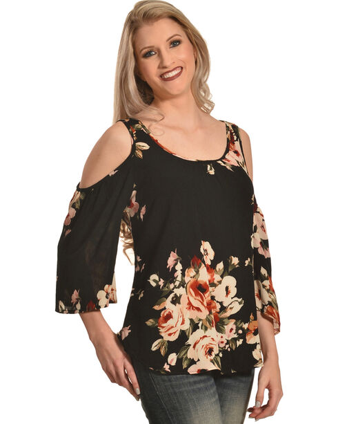 Luna Chix Women's Black Floral Cold Shoulder Blouse , Black, hi-res