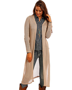 Panhandle Women's Tan Maxi Cardigan , Tan, hi-res