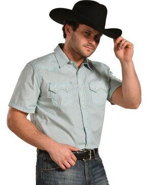 Cody James Men's Vertigo Geo Print Short Sleeve Snap Shirt, Turquoise, hi-res
