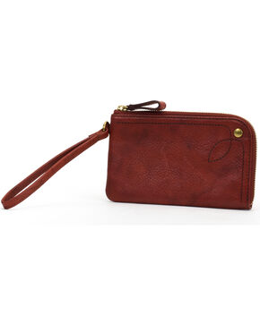 Frye Women's Campus Rivet Leather Wristlet , Brown, hi-res