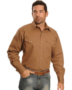 Crazy Cowboy Men's Tan Western Work Shirt , , hi-res