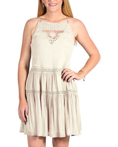 Derek Heart Women's Strappy Tiered Dress, Cream, hi-res