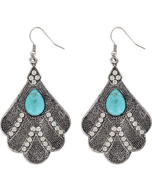 Shyanne Women's Turquoise Bling Scallop Earrings, Silver, hi-res