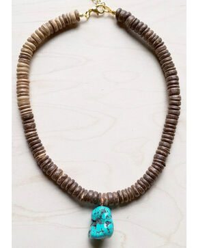 Jewelry Junkie Women's Wood Choker with Turquoise Chunk Pendants, Turquoise, hi-res