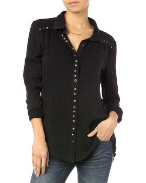 Miss Me Black Studded Button Shirt , Black, hi-res