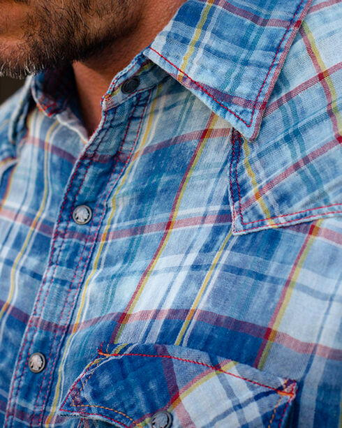 Ryan Michael Men's Indigo Cloud Wash Plaid Shirt , Indigo, hi-res