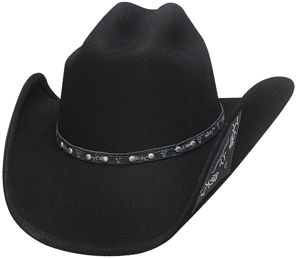 Bullhide Hats Men's Cowboy Collection Don't Look Back Wool Felt Western Hat, Black, hi-res
