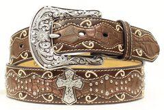 Ariat Brown Studded Cross Inlay Belt, Brown, hi-res