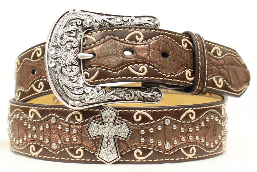 Ariat Brown Studded Cross Inlay Belt, Brown, hi-res