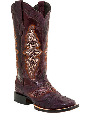 Lucchese Women's Berry Amberlyn Full Quill Ostrich Boots - Square Toe , Berry, hi-res