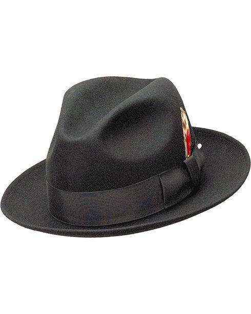 Western Express Men's Black Wool Felt Gangster Hat , Black, hi-res