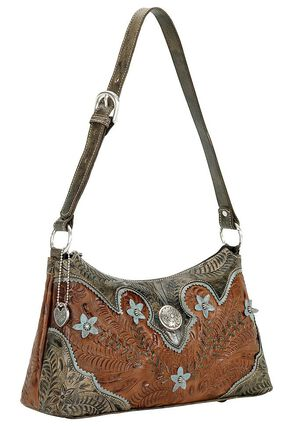 American West Desert Wildflower Zip Top Shoulder Bag, Brown, hi-res