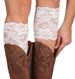 Shyanne Women's Cream Lace Stretch Boot Cuffs, , hi-res