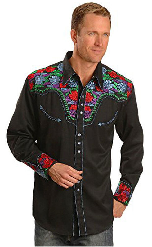 Scully Multi-Colored Floral Embroidered Shirt - Big and Tall, Indigo, hi-res