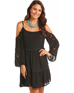 Panhandle Women's Black Cold Shoulder Lace Sleeves Dress, Black, hi-res