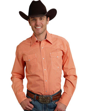 Roper Men's Amarillo Collection Orange Print Snap Long Sleeve Shirt, Orange, hi-res