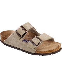 Birkenstock Women's Arizona Soft Suede Taupe Sandals, Tan, hi-res