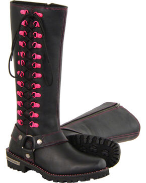 "Milwaukee Leather Women's Black 14"" Fuchsia Accent Lacing Boots - Square Toe , Black, hi-res"
