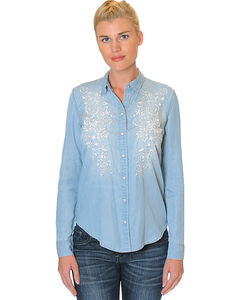 Grace in LA Women's Embroidered Long Sleeve Denim Shirt , Light/pastel Blue, hi-res