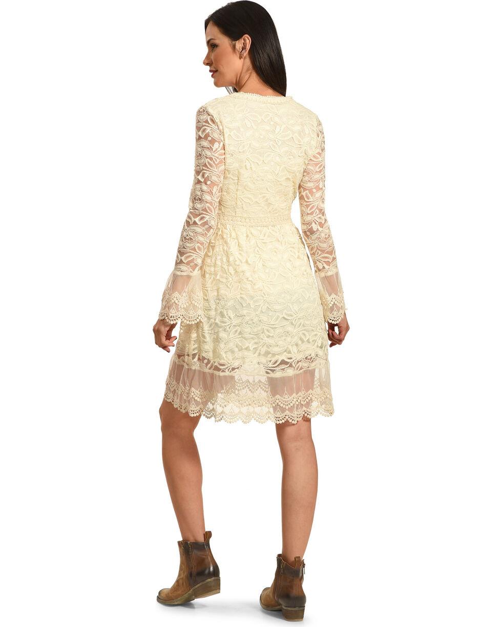 Young Essence Women's Long Lace Cardigan, Beige/khaki, hi-res