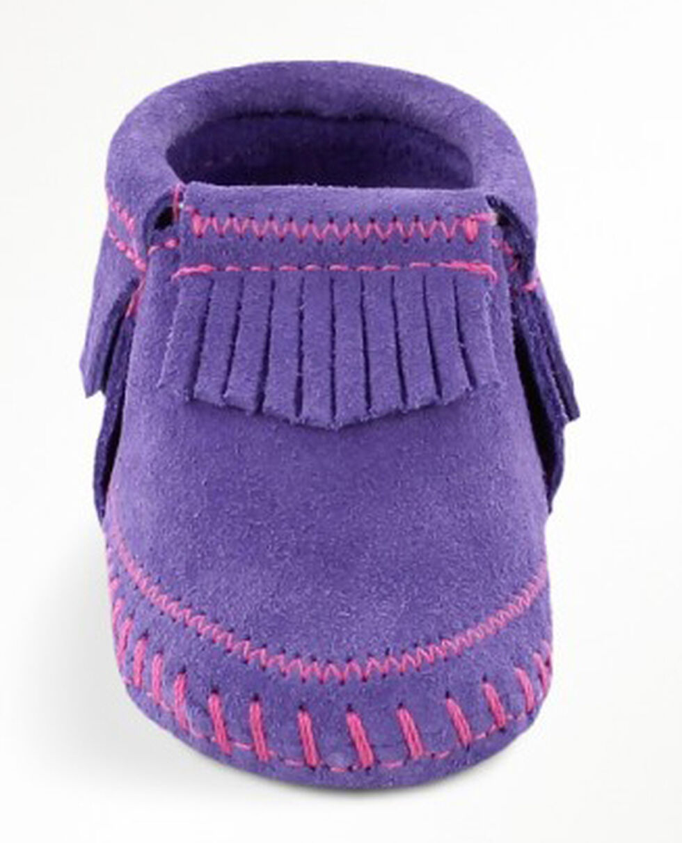 Minnetonka Infant Girls' Riley Moccasin Booties, Purple, hi-res