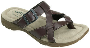 Eastland Women's Brown Pearl Thong Sandals, Brown, hi-res