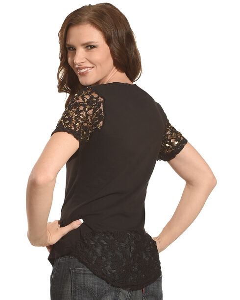 Rock & Roll Cowgirl Women's Black Lace Sleeve Top , Black, hi-res