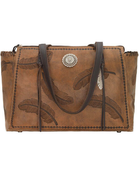 American West Women's Brown Sacred Bird Concealed Carry Tote , Distressed Brown, hi-res
