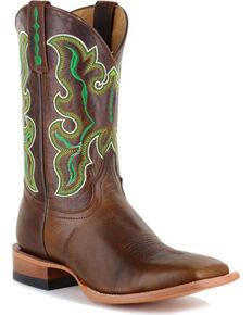Men's Golden Embroidery Cowboy Boot Square Toe Lt Brown 8.5 D