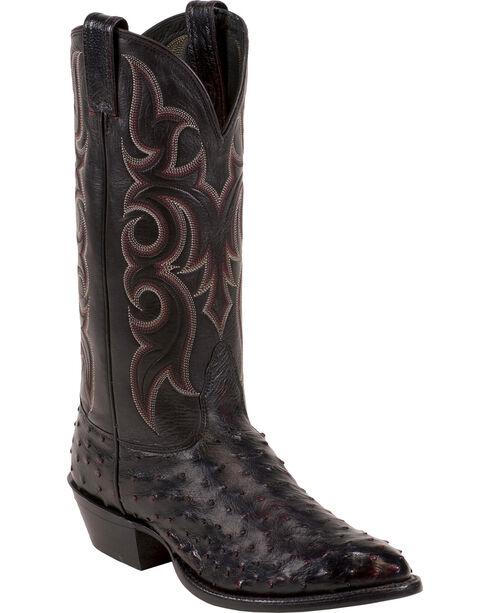 Nocona Full Quill Ostrich Cowboy Boots - Medium Toe, Black Cherry, hi-res