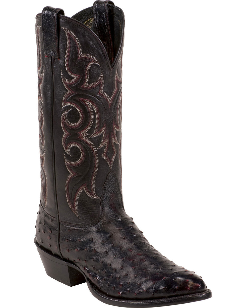 Nocona Full Quill Ostrich Cowboy Boots - Medium Toe, Black Cherry, hi-res