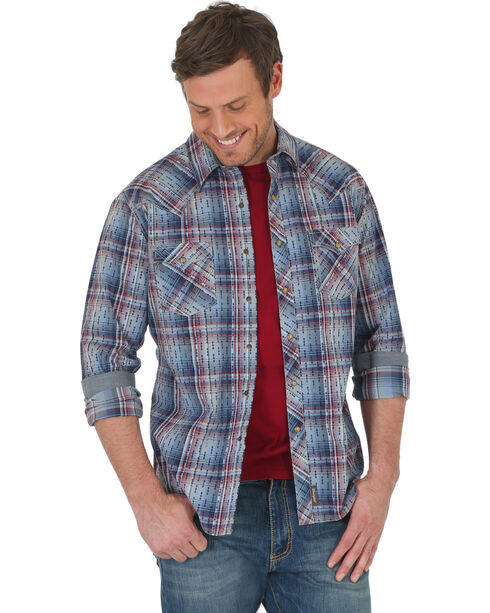 Wrangler Men's Blue Retro Premium Western Plaid Shirt - Tall, Beige/khaki, hi-res
