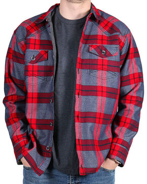 Cody James Men's Carson City Fleece Lined Flannel Shirt, Grey, hi-res
