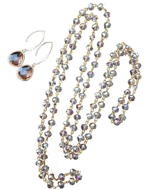 2 Queen B's Women's Amber Crystal Necklace & Earring Set, Light Pink, hi-res