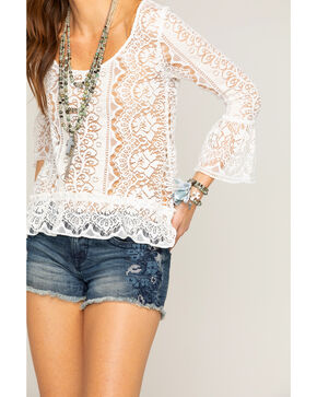 Shyanne Women's Ivory Lace Bell Sleeve Top , Ivory, hi-res