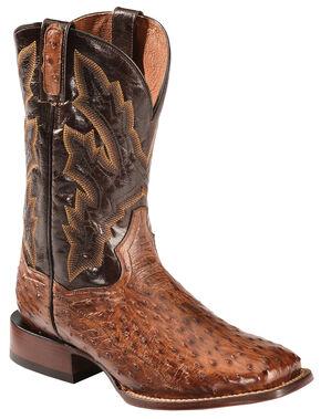 Dan Post Cognac Quilled Ostrich Cowboy Boots - Square Toe , Cognac, hi-res