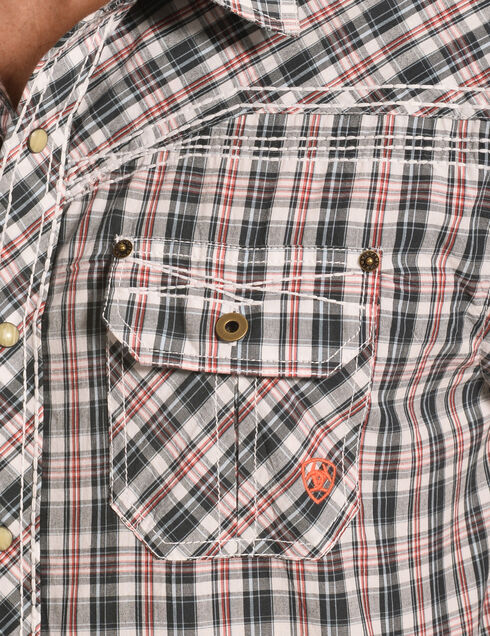 Ariat Men's Elliot Plaid Short Sleeve Western Shirt, Brick, hi-res