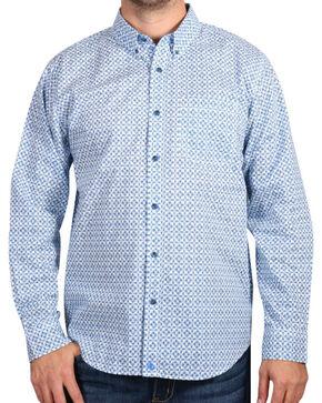 Cody James Men's Diamond Patterned Long Sleeve Shirt, White, hi-res