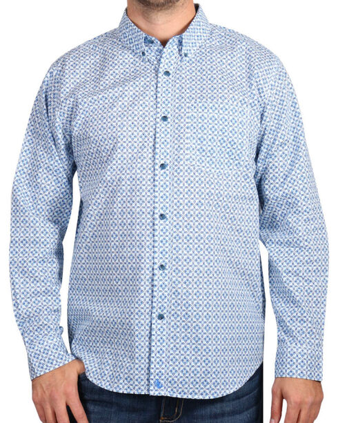 Cody James Men's Diamond Patterned Long Sleeve Shirt, White, hi-res