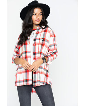 Wrangler Women's Modern Plaid Boyfriend Fit Shirt , Red, hi-res