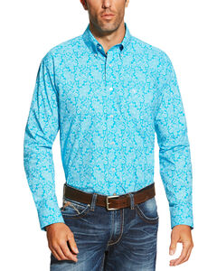 Ariat Men's Turquoise Livingston Print Shirt, Turquoise, hi-res