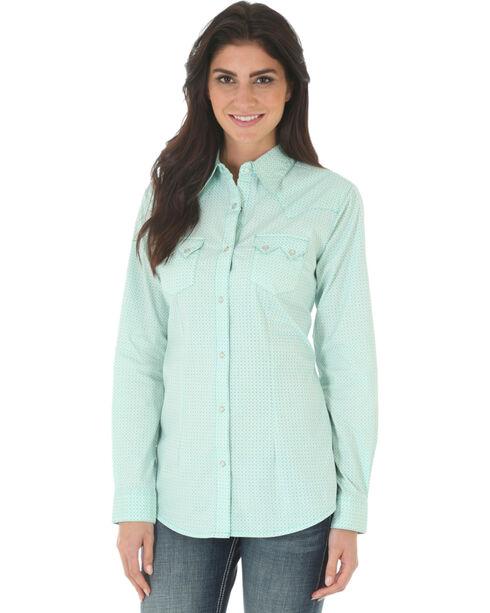 Wrangler Women's Turquoise Western Long Sleeve Shirt , Turquoise, hi-res
