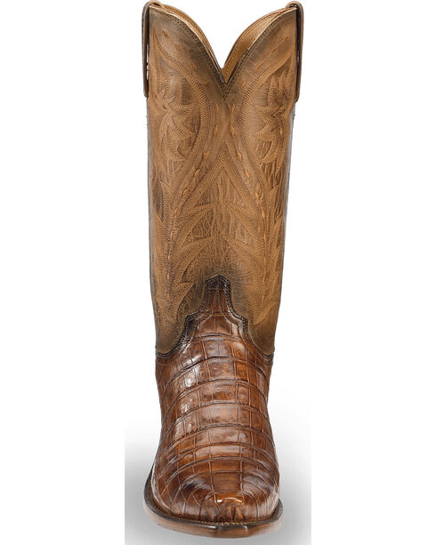 Lucchese Men's Handmade Tan Bernie Caiman Belly Western Boots - Snip Toe , Tan, hi-res