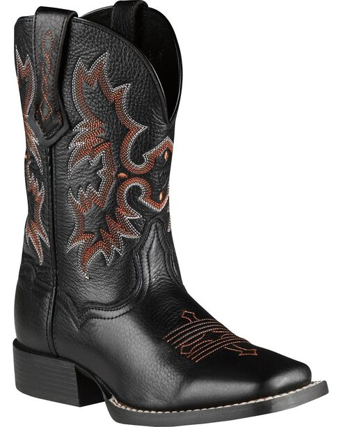 Ariat Youth Boys' Tombstone Black Deertan Cowboy Boots, Black, hi-res