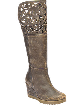 Corral Cutout Collar Wedge Heel Boots - Round Toe, Brown, hi-res