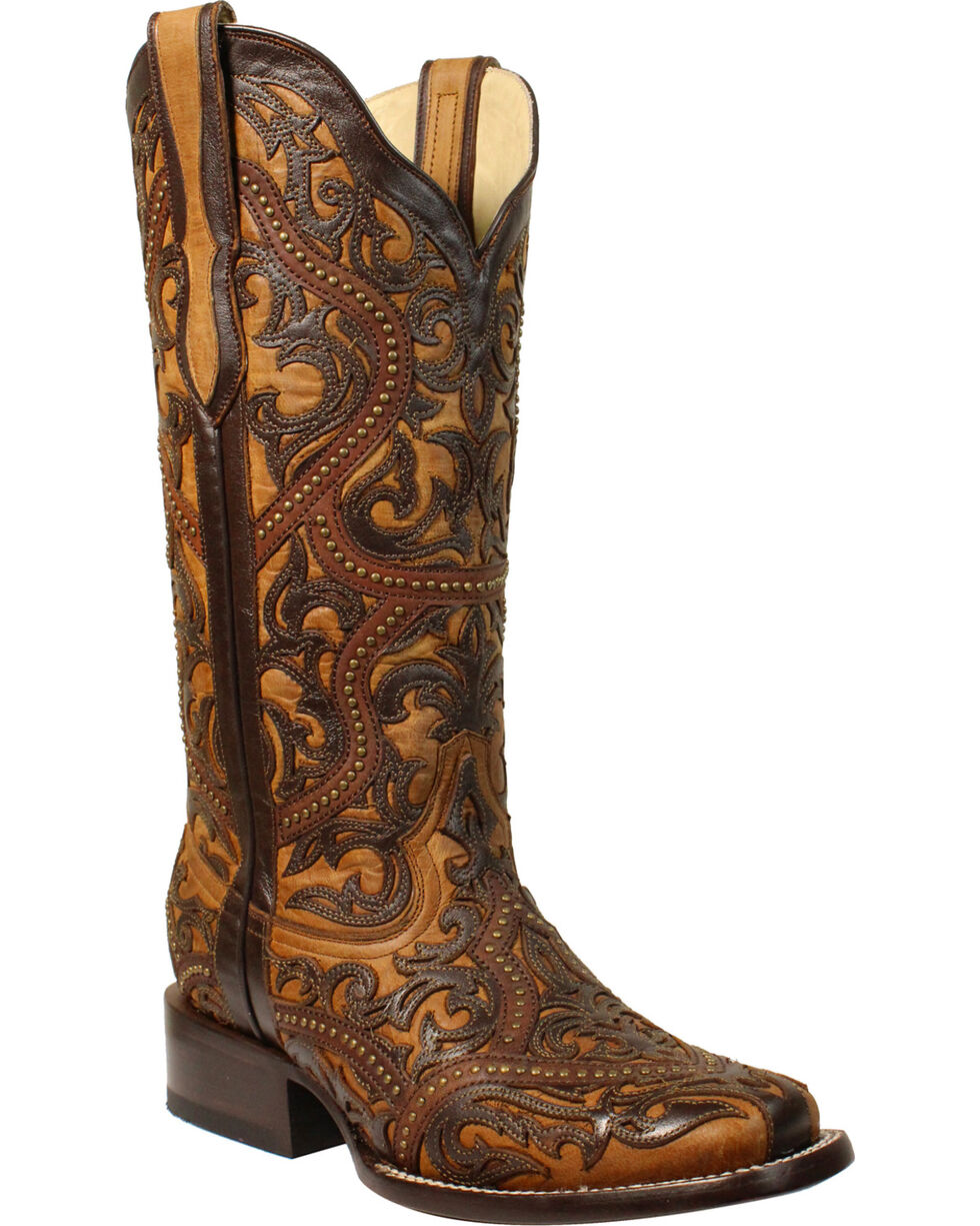 Corral Women's Brown Full Overlay Studs Cowgirl Boots - Square Toe, Brown, hi-res