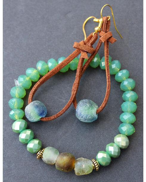 2 Queen B's Women's Desert Babe Glass Ghana Bead Earring & Bracelet Set, Green, hi-res