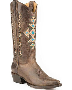 Roper Native Inlay Cowgirl Boots - Snip Toe, Brown, hi-res